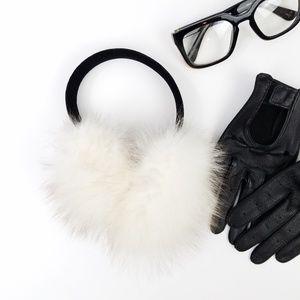 Ivory Rabbit Fur Earmuffs Black Velvet Headband
